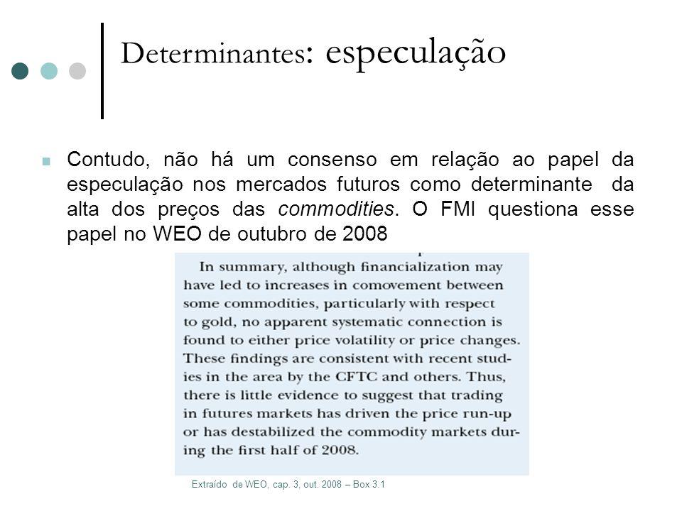 Determinantes : especulação Contudo, não há um consenso em relação ao papel da especulação nos mercados futuros como determinante da alta dos preços d