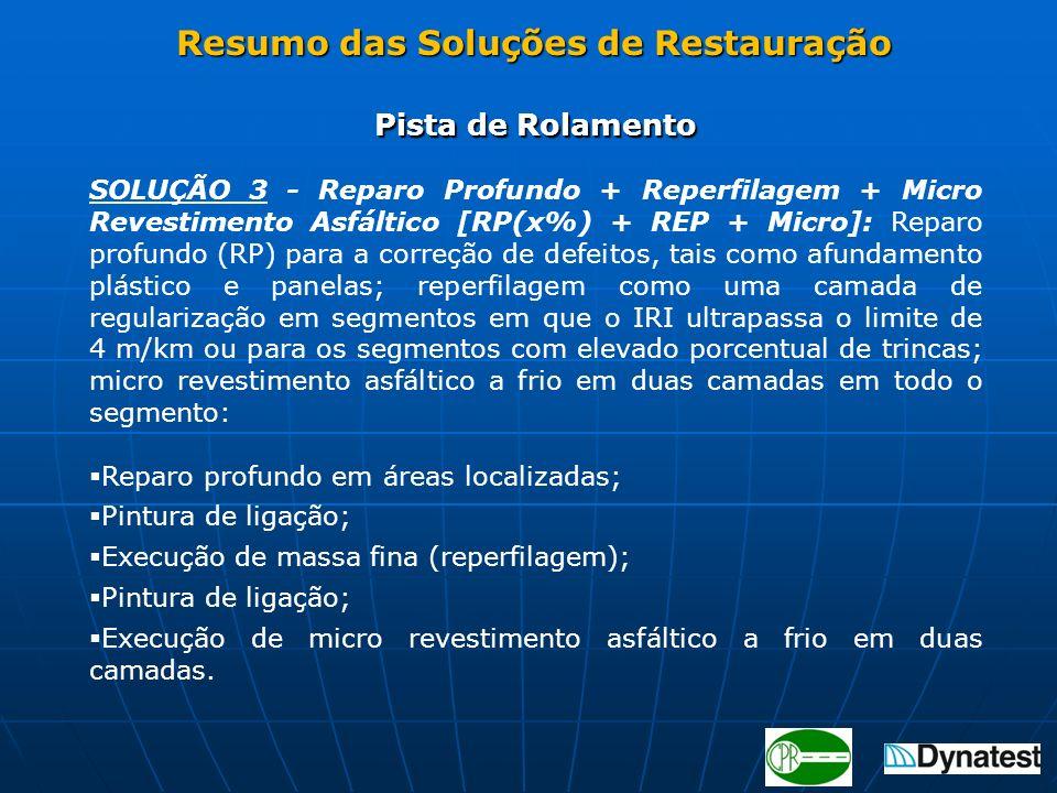 Pista de Rolamento SOLUÇÃO 3 - Reparo Profundo + Reperfilagem + Micro Revestimento Asfáltico [RP(x%) + REP + Micro]: Reparo profundo (RP) para a corre