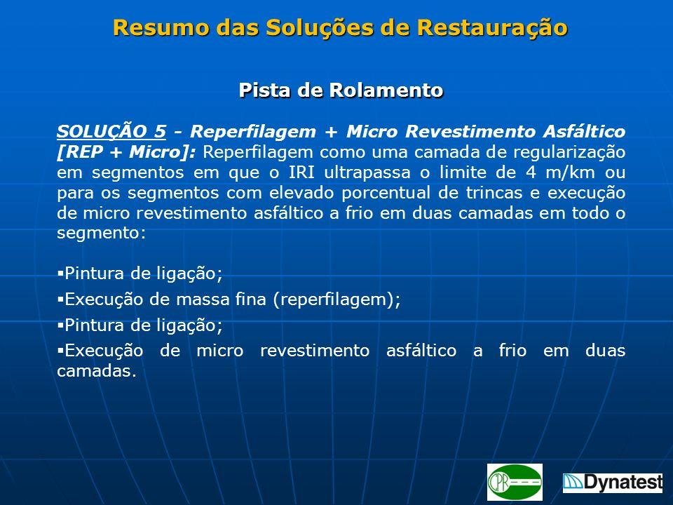 Pista de Rolamento SOLUÇÃO 5 - Reperfilagem + Micro Revestimento Asfáltico [REP + Micro]: Reperfilagem como uma camada de regularização em segmentos e