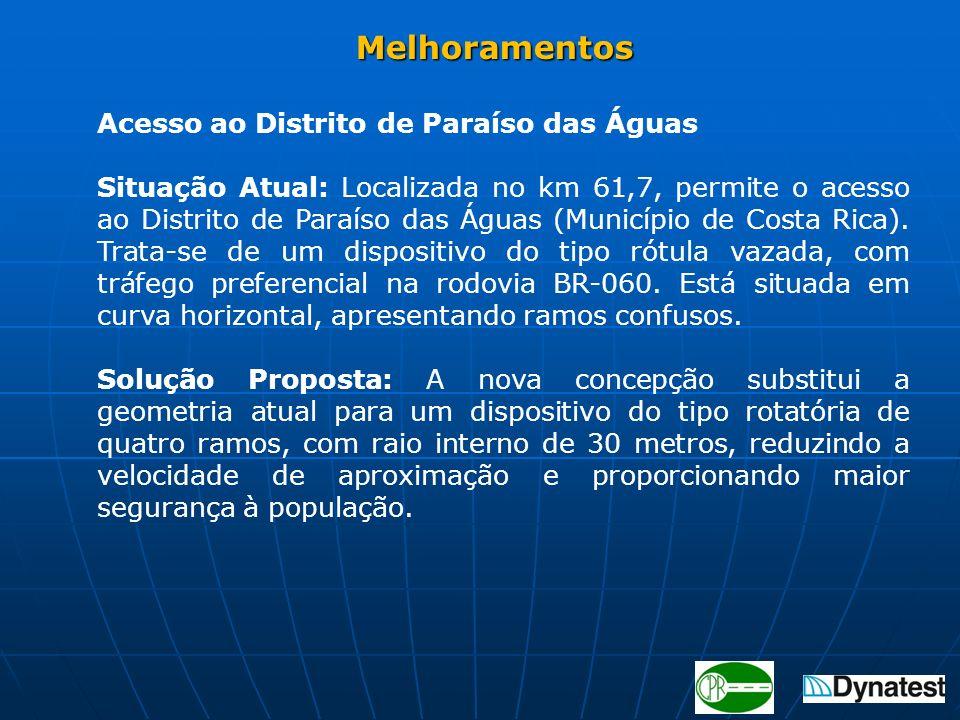 Acesso ao Distrito de Paraíso das Águas Situação Atual: Localizada no km 61,7, permite o acesso ao Distrito de Paraíso das Águas (Município de Costa R