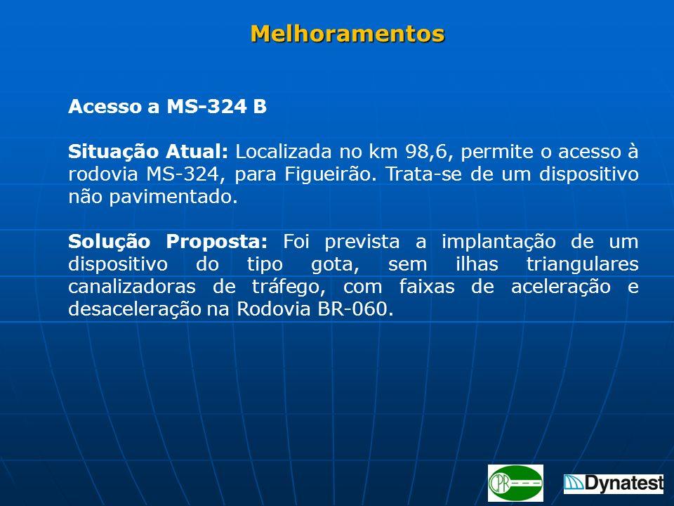 Acesso a MS-324 B Situação Atual: Localizada no km 98,6, permite o acesso à rodovia MS-324, para Figueirão. Trata-se de um dispositivo não pavimentado