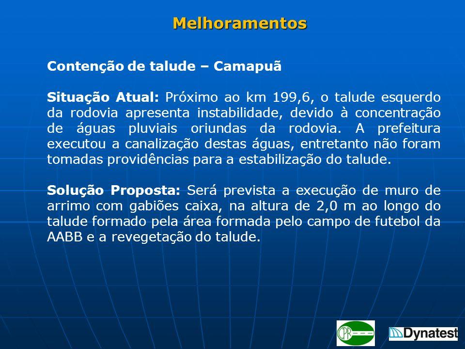Contenção de talude – Camapuã Situação Atual: Próximo ao km 199,6, o talude esquerdo da rodovia apresenta instabilidade, devido à concentração de água