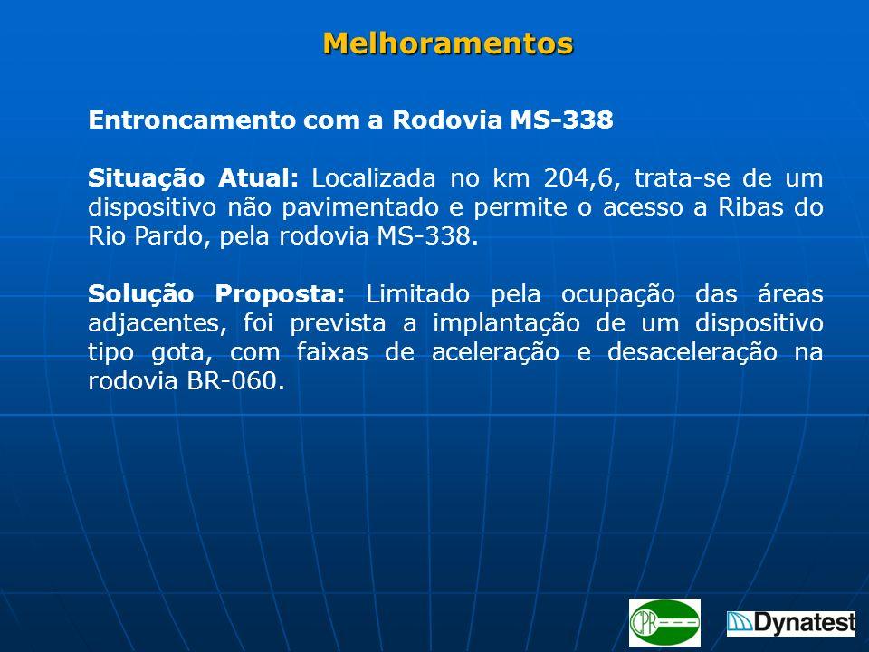 Entroncamento com a Rodovia MS-338 Situação Atual: Localizada no km 204,6, trata-se de um dispositivo não pavimentado e permite o acesso a Ribas do Ri