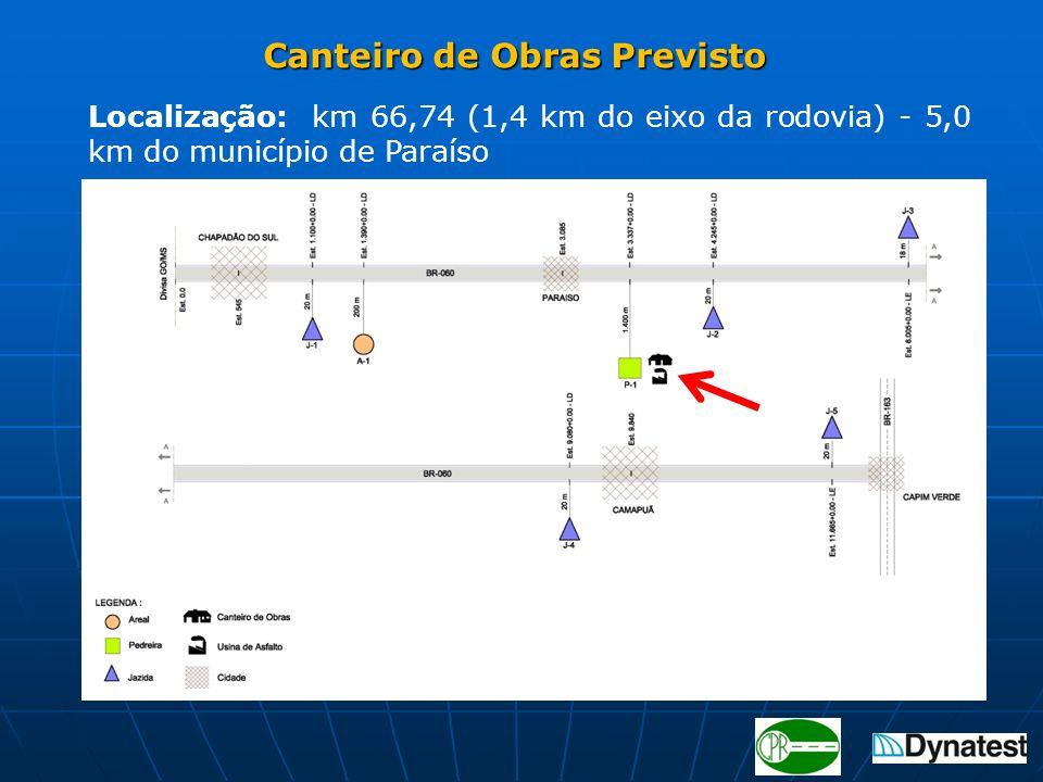 Canteiro de Obras Previsto Canteiro de Obras Previsto Localização: km 66,74 (1,4 km do eixo da rodovia) - 5,0 km do município de Paraíso