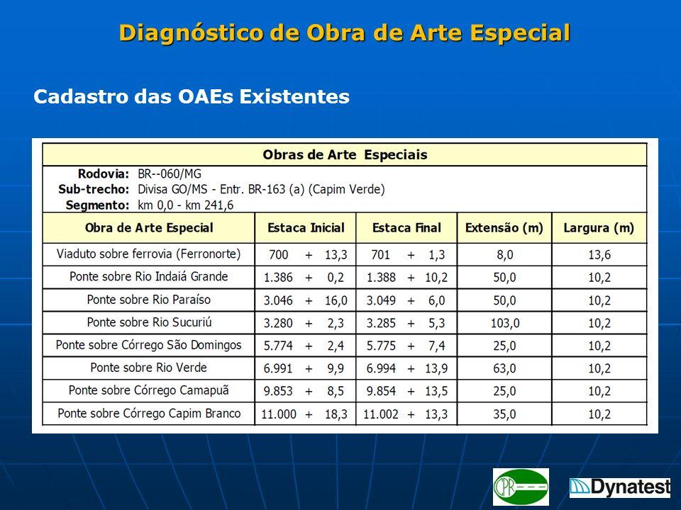 Diagnóstico de Obra de Arte Especial Diagnóstico de Obra de Arte Especial Cadastro das OAEs Existentes