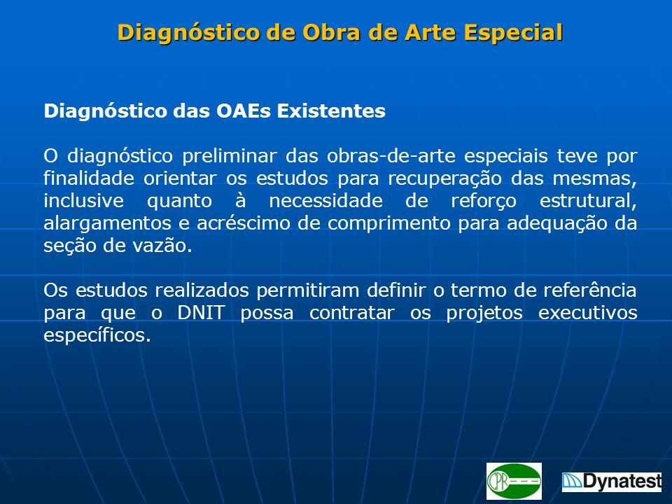 Diagnóstico das OAEs Existentes O diagnóstico preliminar das obras-de-arte especiais teve por finalidade orientar os estudos para recuperação das mesm