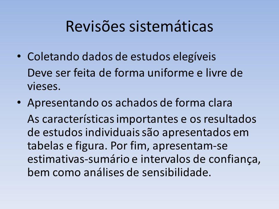 Revisões sistemáticas Coletando dados de estudos elegíveis Deve ser feita de forma uniforme e livre de vieses.