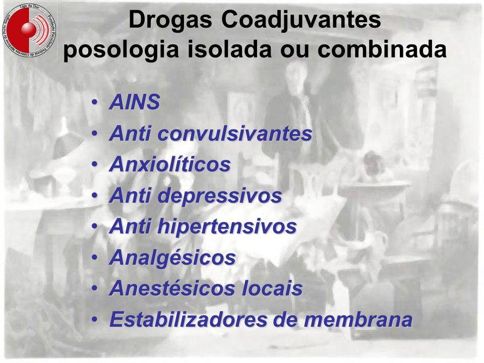 Drogas Coadjuvantes posologia isolada ou combinada AINSAINS Anti convulsivantesAnti convulsivantes AnxiolíticosAnxiolíticos Anti depressivosAnti depre