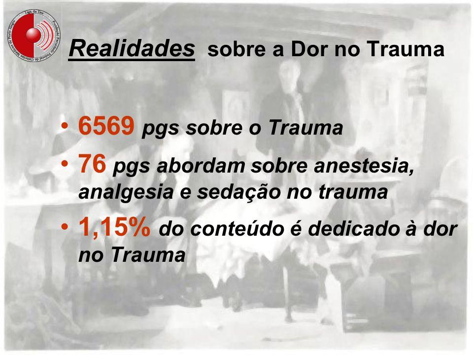 Realidades sobre a Dor no Trauma 6569 pgs sobre o Trauma 76 pgs abordam sobre anestesia, analgesia e sedação no trauma 1,15% do conteúdo é dedicado à