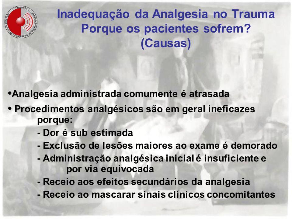 Inadequação da Analgesia no Trauma Porque os pacientes sofrem? (Causas) Analgesia administrada comumente é atrasada Procedimentos analgésicos são em g