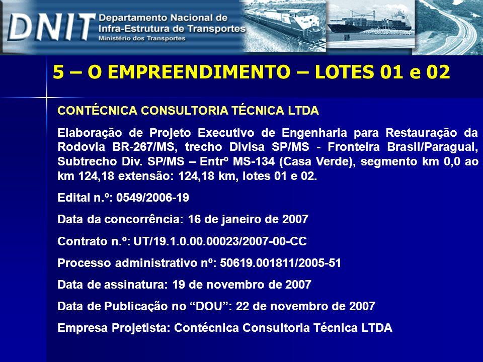 CONTÉCNICA CONSULTORIA TÉCNICA LTDA Elaboração de Projeto Executivo de Engenharia para Restauração da Rodovia BR-267/MS, trecho Divisa SP/MS - Frontei