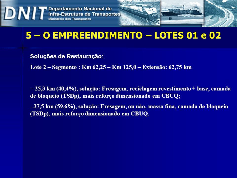 5 – O EMPREENDIMENTO – LOTES 01 e 02 Soluções de Restauração: Lote 2 – Segmento : Km 62,25 – Km 125,0 – Extensão: 62,75 km 25,3 km (40,4%), solução: F