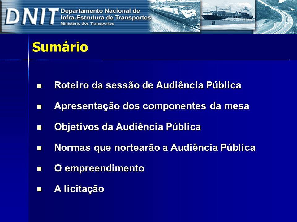 1- ROTEIRO DA SESSÃO 1) Apresentação dos componentes da Mesa, os objetivos da Audiência Pública e leitura das Normas que regerão a sessão.
