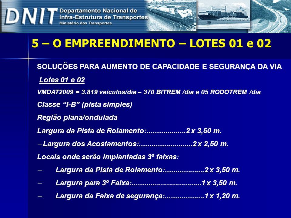 SOLUÇÕES PARA AUMENTO DE CAPACIDADE E SEGURANÇA DA VIA Lotes 01 e 02 VMDAT2009 = 3.819 veículos/dia – 370 BITREM /dia e 05 RODOTREM /dia Classe I-B (p