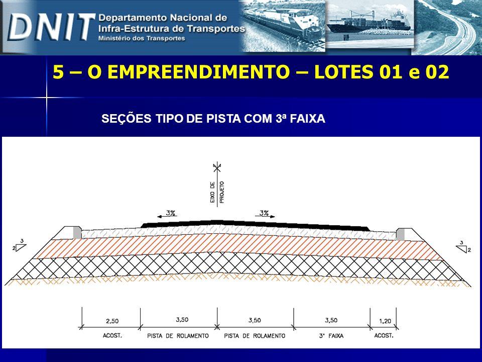 5 – O EMPREENDIMENTO – LOTES 01 e 02 SEÇÕES TIPO DE PISTA COM 3ª FAIXA