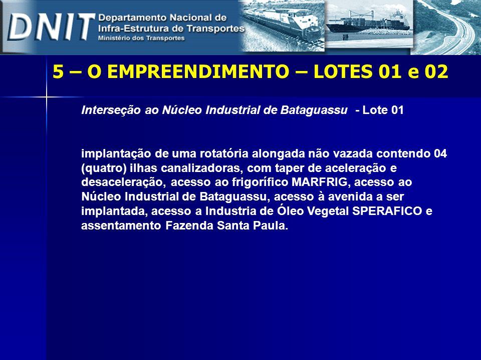5 – O EMPREENDIMENTO – LOTES 01 e 02 Interseção ao Núcleo Industrial de Bataguassu - Lote 01 implantação de uma rotatória alongada não vazada contendo