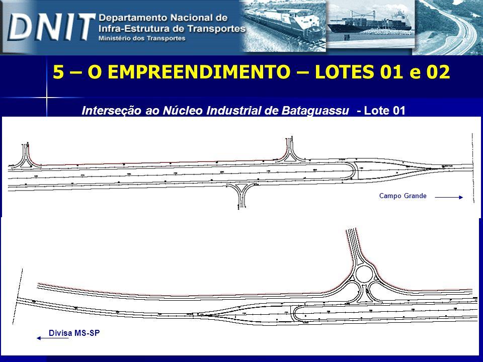 5 – O EMPREENDIMENTO – LOTES 01 e 02 Interseção ao Núcleo Industrial de Bataguassu - Lote 01 Campo Grande Divisa MS-SP