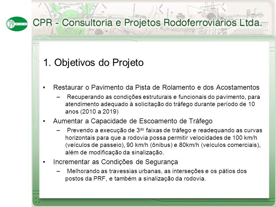 1. Objetivos do Projeto Restaurar o Pavimento da Pista de Rolamento e dos Acostamentos – Recuperando as condições estruturais e funcionais do paviment