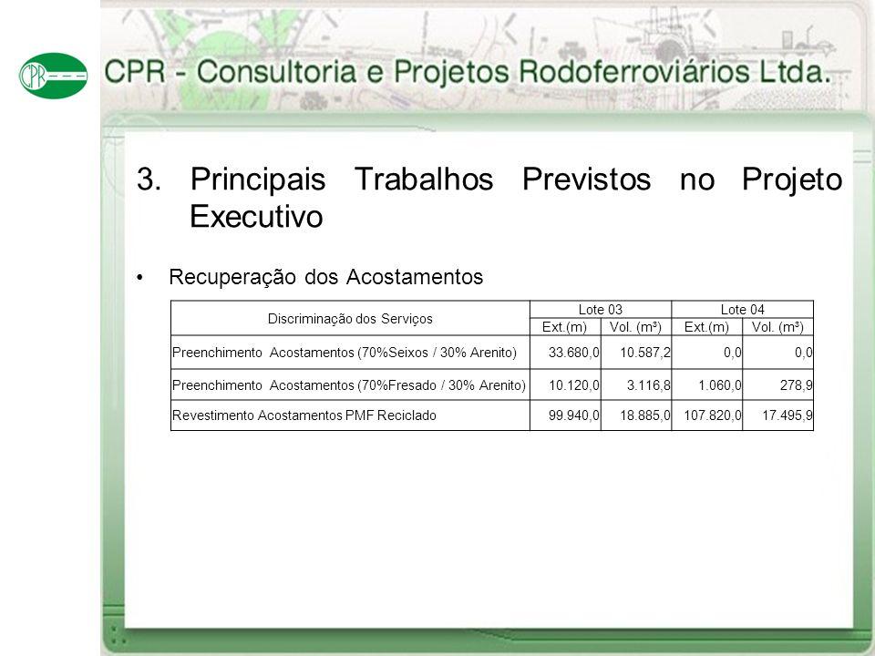 3. Principais Trabalhos Previstos no Projeto Executivo Recuperação dos Acostamentos Discriminação dos Serviços Lote 03Lote 04 Ext.(m)Vol. (m³)Ext.(m)V