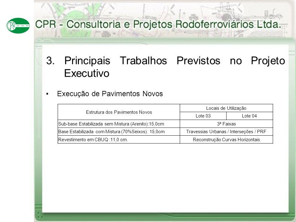 3. Principais Trabalhos Previstos no Projeto Executivo Execução de Pavimentos Novos Estrutura dos Pavimentos Novos Locais de Utilização Lote 03Lote 04