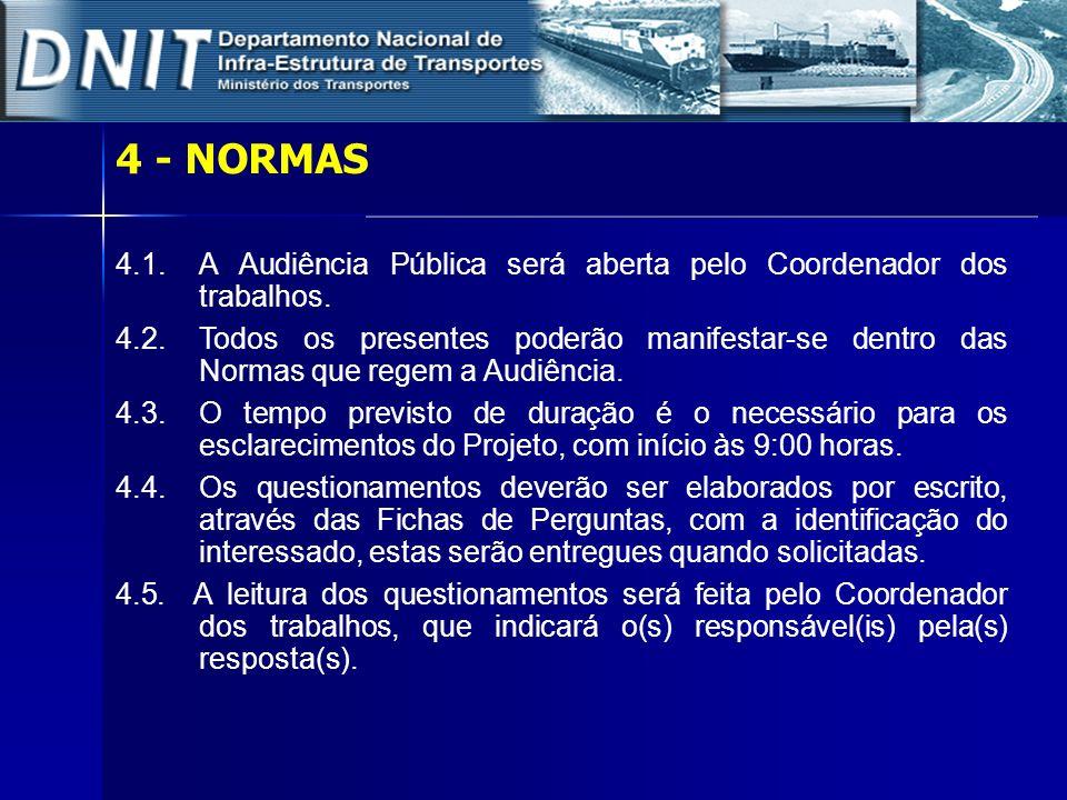 4 - NORMAS 4.1.A Audiência Pública será aberta pelo Coordenador dos trabalhos. 4.2. Todos os presentes poderão manifestar-se dentro das Normas que reg