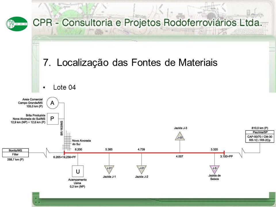 7. Localização das Fontes de Materiais Lote 04