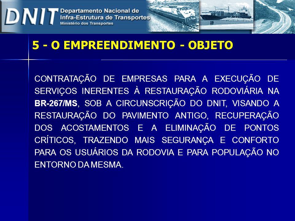 5 – O EMPREENDIMENTO – LOTE 01 Rodovia: BR-267/MS Trecho: Divisa SP/MS – Fronteira Brasil/ Paraguai Subtrecho: Div.