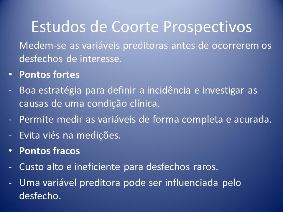 Estudos de Coorte Prospectivos Medem-se as variáveis preditoras antes de ocorrerem os desfechos de interesse. Pontos fortes -Boa estratégia para defin