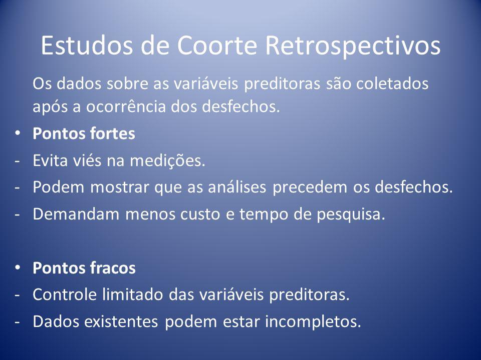 Estudos de Coorte Retrospectivos Os dados sobre as variáveis preditoras são coletados após a ocorrência dos desfechos. Pontos fortes - Evita viés na m