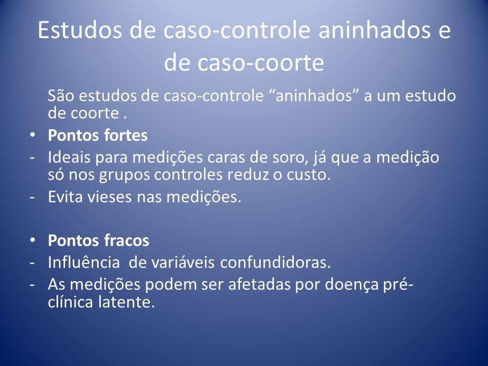 Estudos de caso-controle aninhados e de caso-coorte São estudos de caso-controle aninhados a um estudo de coorte. Pontos fortes - Ideais para medições