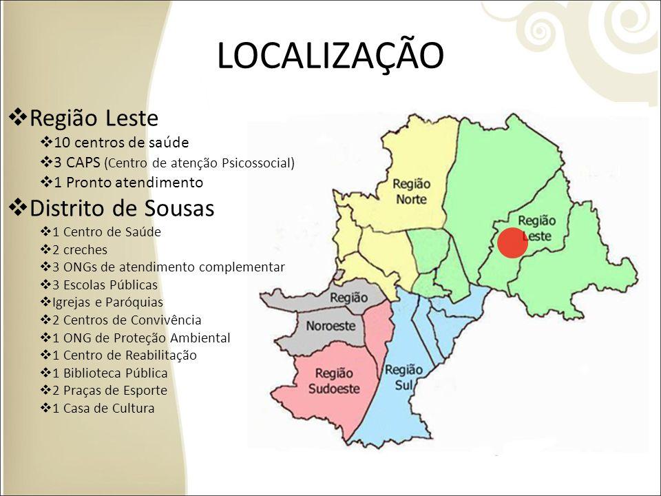 LOCALIZAÇÃO Região Leste 10 centros de saúde 3 CAPS (Centro de atenção Psicossocial) 1 Pronto atendimento Distrito de Sousas 1 Centro de Saúde 2 crech