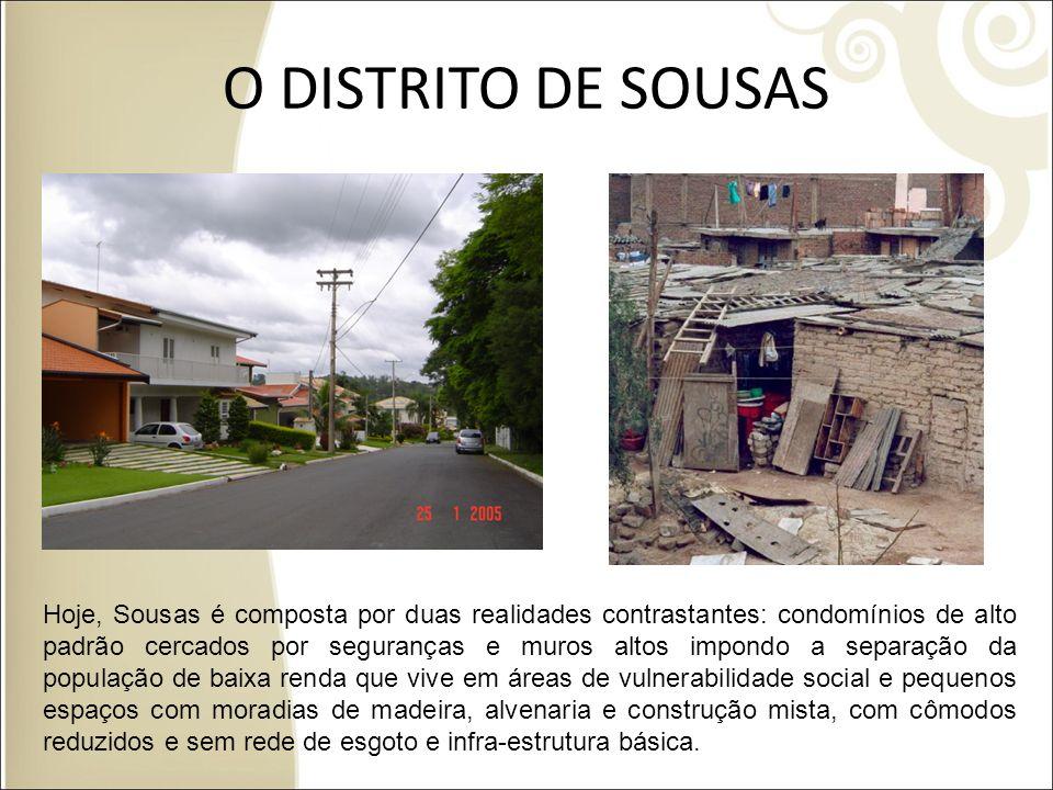 O DISTRITO DE SOUSAS Foto condomínios Sousas Foto Favelas em Sousas Hoje, Sousas é composta por duas realidades contrastantes: condomínios de alto pad