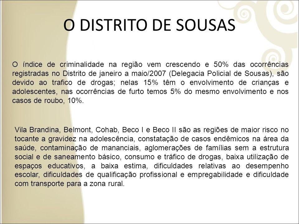 O DISTRITO DE SOUSAS O índice de criminalidade na região vem crescendo e 50% das ocorrências registradas no Distrito de janeiro a maio/2007 (Delegacia
