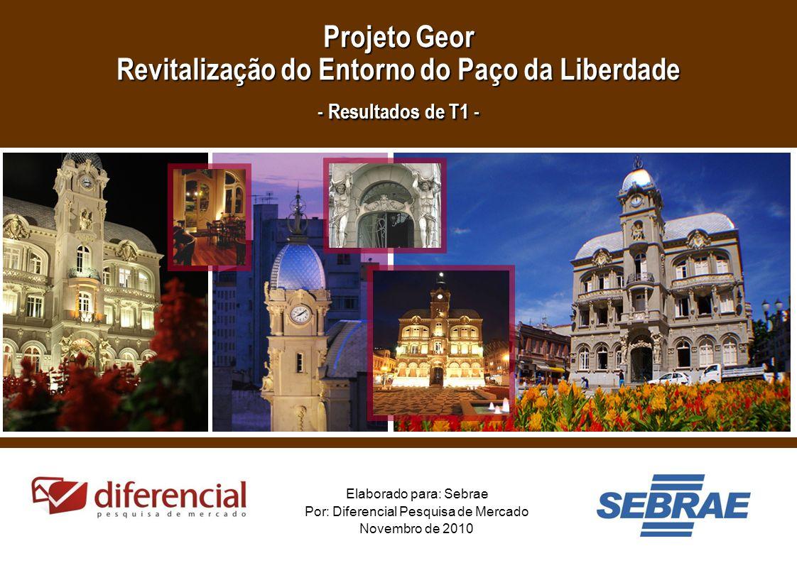 1 Elaborado para: Sebrae Por: Diferencial Pesquisa de Mercado Novembro de 2010 Projeto Geor Revitalização do Entorno do Paço da Liberdade - Resultados