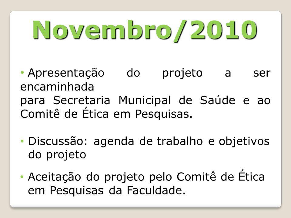 Novembro/2010 Apresentação do projeto a ser encaminhada para Secretaria Municipal de Saúde e ao Comitê de Ética em Pesquisas. Discussão: agenda de tra