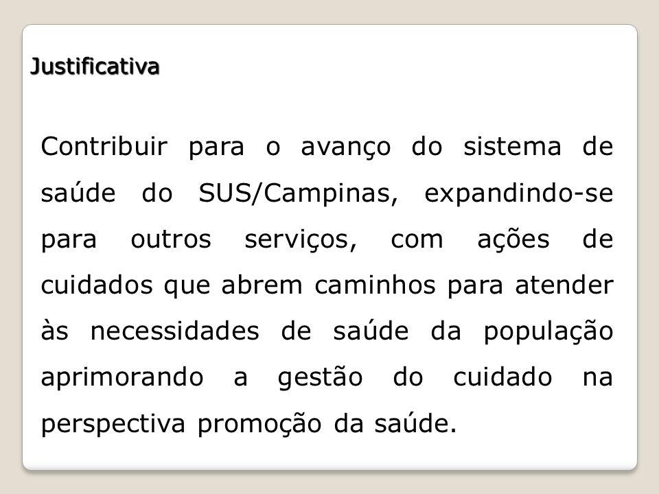 Justificativa Contribuir para o avanço do sistema de saúde do SUS/Campinas, expandindo-se para outros serviços, com ações de cuidados que abrem caminh