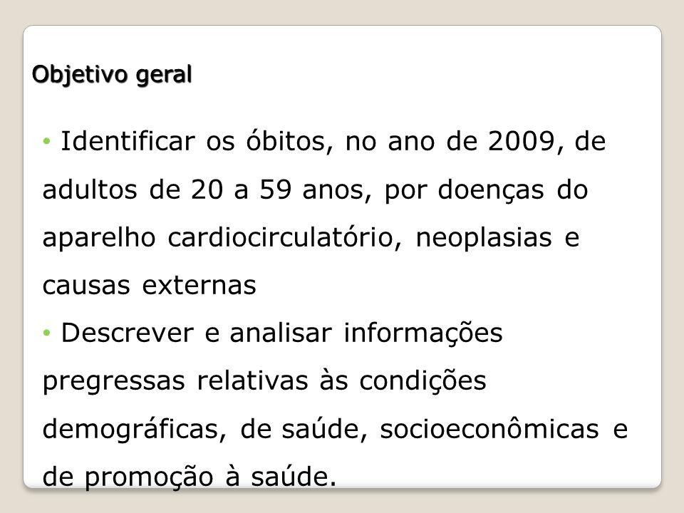 Objetivo geral Identificar os óbitos, no ano de 2009, de adultos de 20 a 59 anos, por doenças do aparelho cardiocirculatório, neoplasias e causas exte