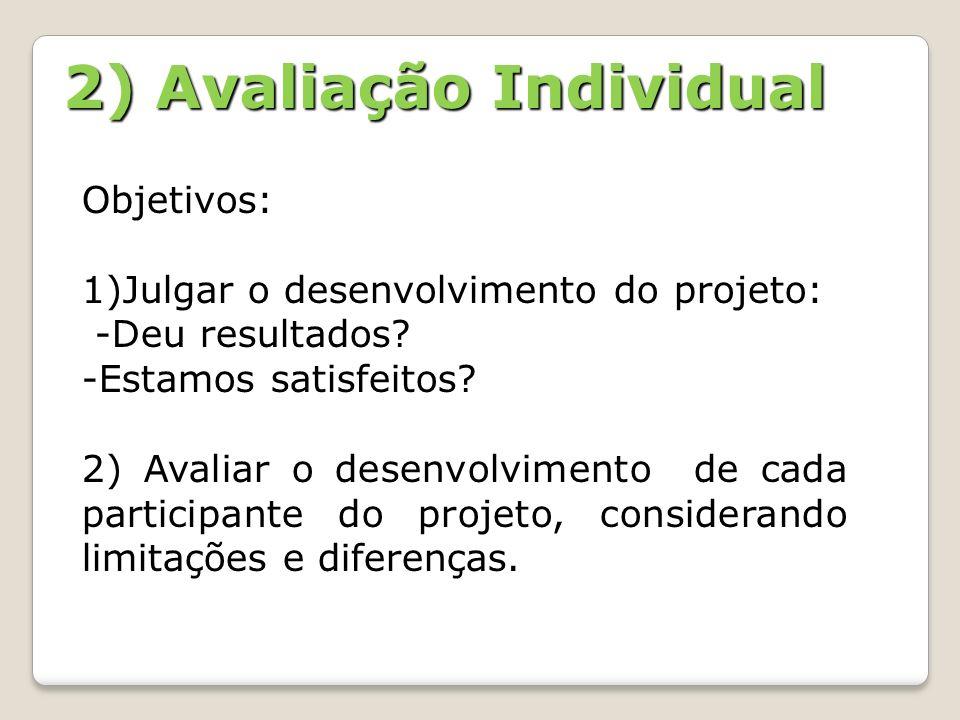 2) Avaliação Individual Objetivos: 1)Julgar o desenvolvimento do projeto: -Deu resultados? -Estamos satisfeitos? 2) Avaliar o desenvolvimento de cada