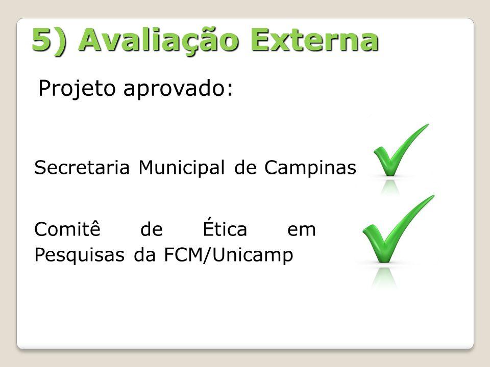 5) Avaliação Externa Projeto aprovado: Comitê de Ética em Pesquisas da FCM/Unicamp Secretaria Municipal de Campinas