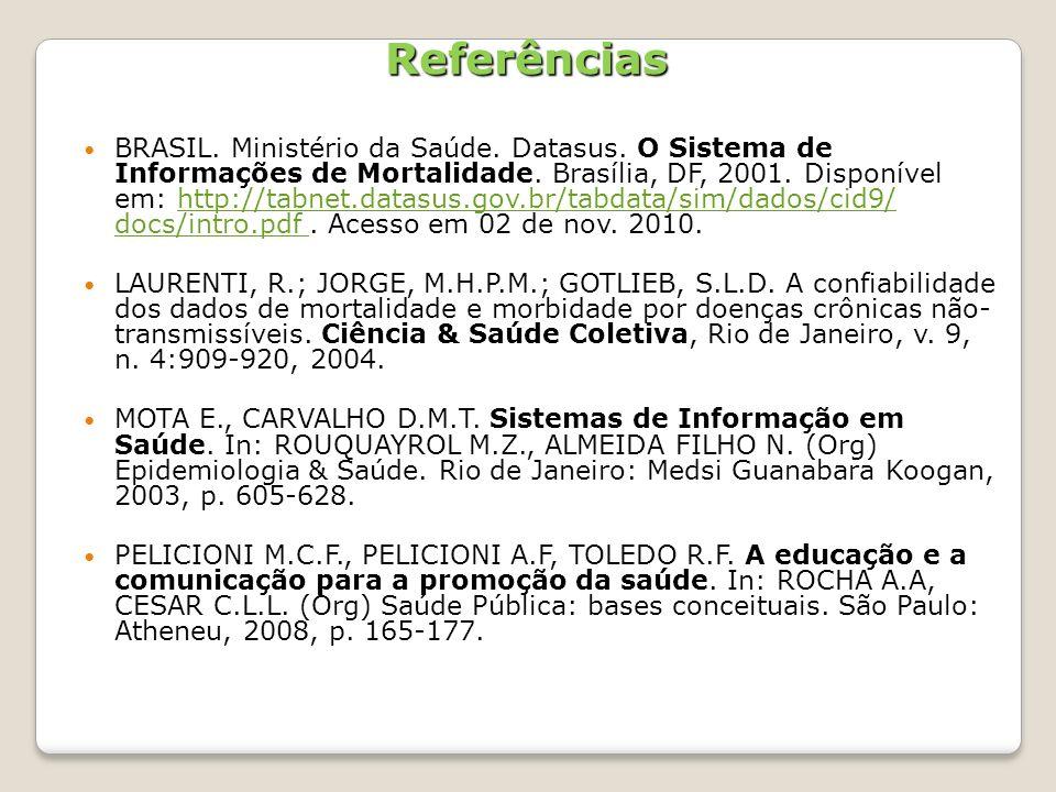 Referências BRASIL. Ministério da Saúde. Datasus. O Sistema de Informações de Mortalidade. Brasília, DF, 2001. Disponível em: http://tabnet.datasus.go