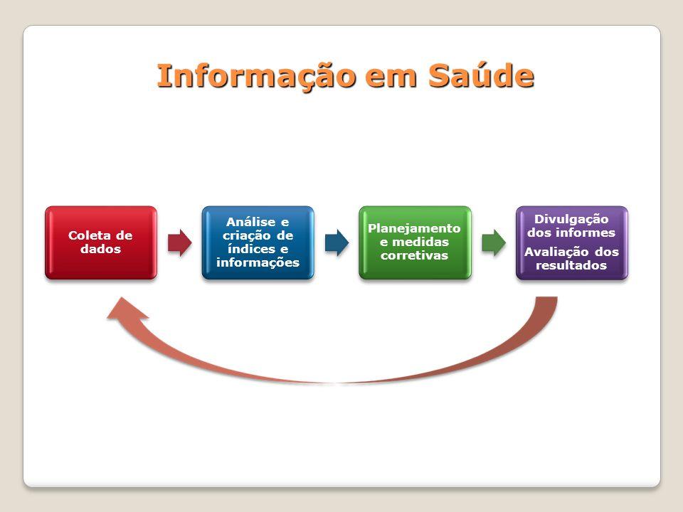 Informação em Saúde Coleta de dados Análise e criação de índices e informações Planejamento e medidas corretivas Divulgação dos informes Avaliação dos