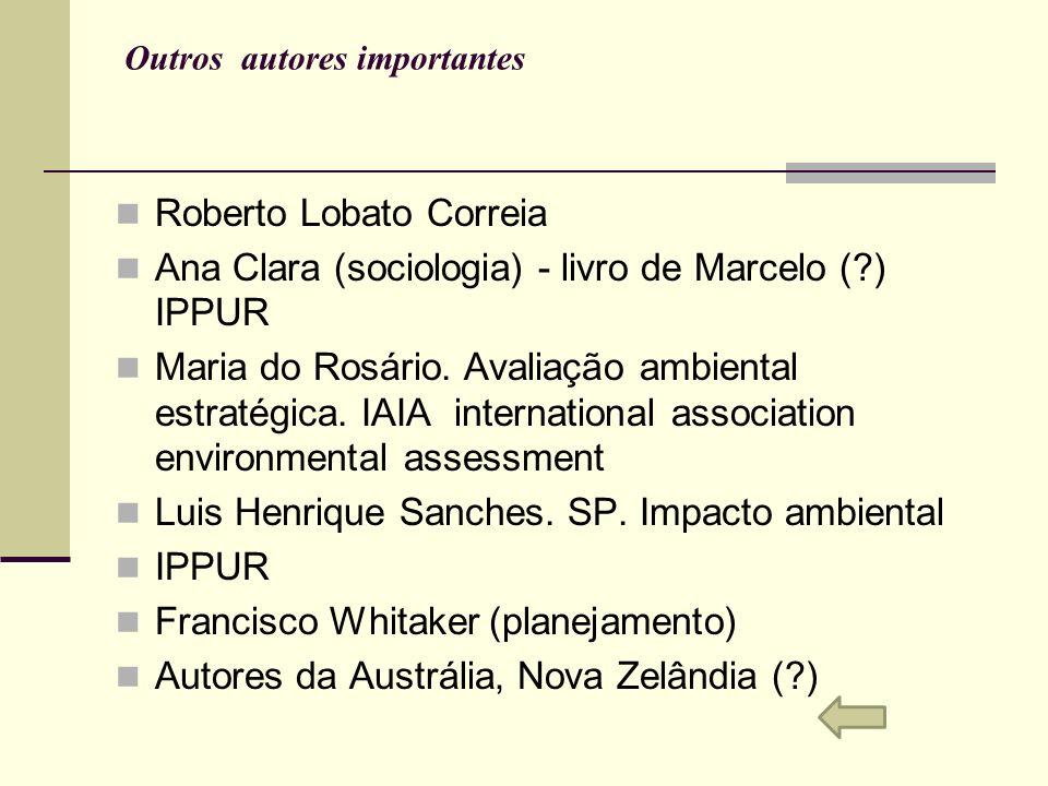 Outros autores importantes Roberto Lobato Correia Ana Clara (sociologia) - livro de Marcelo (?) IPPUR Maria do Rosário. Avaliação ambiental estratégic