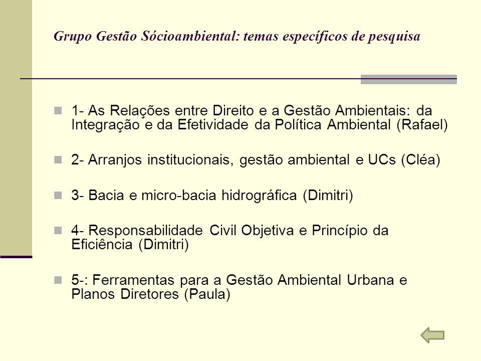 Grupo Gestão Sócioambiental: temas específicos de pesquisa 1- As Relações entre Direito e a Gestão Ambientais: da Integração e da Efetividade da Polít
