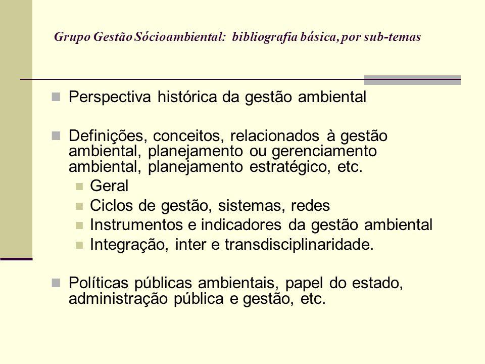 Grupo Gestão Sócioambiental: bibliografia básica, por sub-temas Perspectiva histórica da gestão ambiental Definições, conceitos, relacionados à gestão