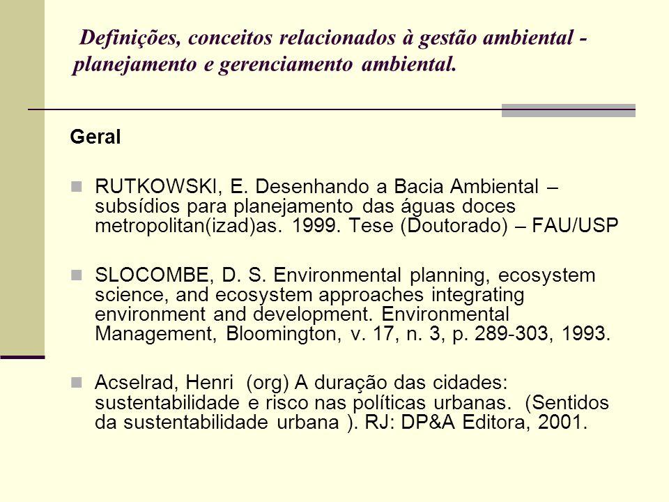 Definições, conceitos relacionados à gestão ambiental - planejamento e gerenciamento ambiental. Geral RUTKOWSKI, E. Desenhando a Bacia Ambiental – sub
