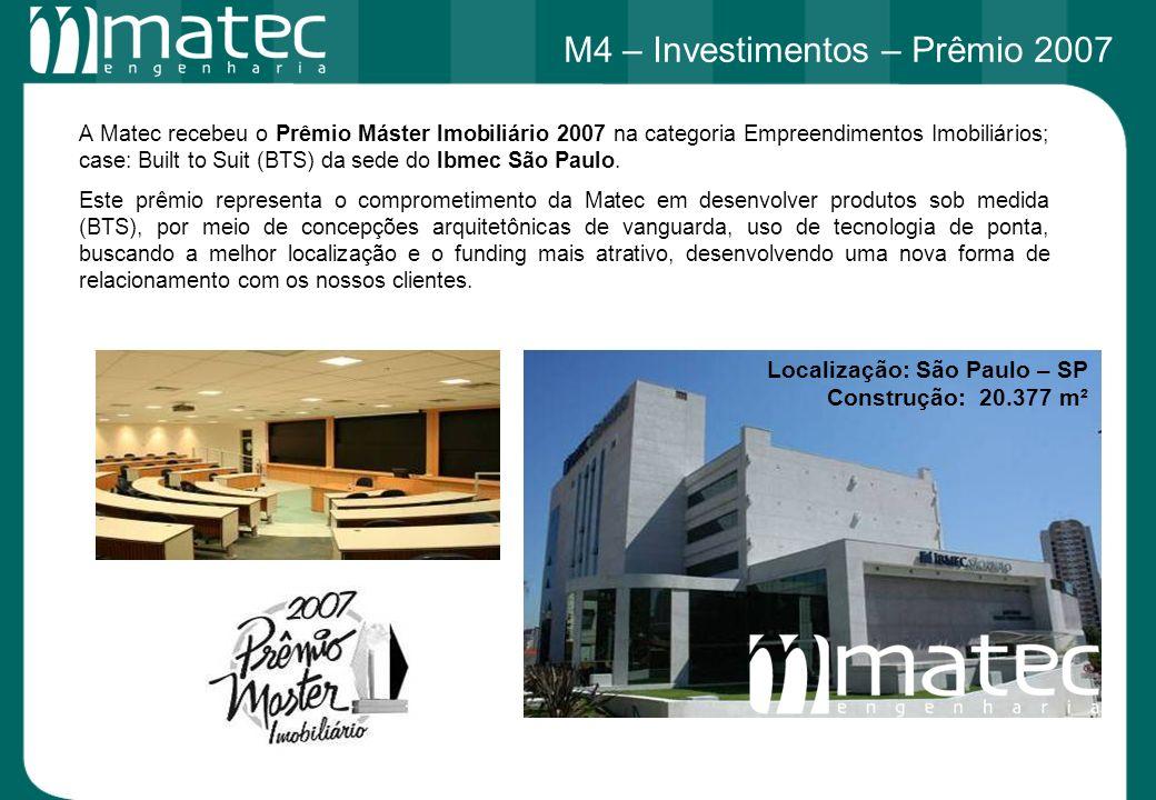A Matec recebeu o Prêmio Máster Imobiliário 2007 na categoria Empreendimentos Imobiliários; case: Built to Suit (BTS) da sede do Ibmec São Paulo. Este