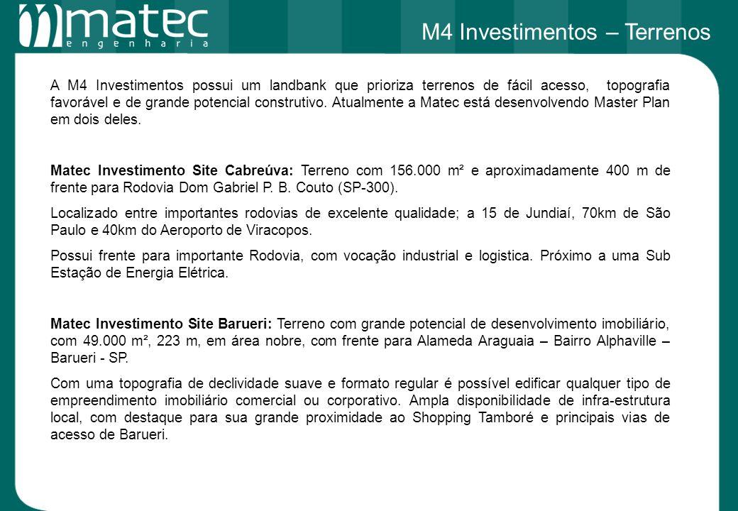 A M4 Investimentos possui um landbank que prioriza terrenos de fácil acesso, topografia favorável e de grande potencial construtivo. Atualmente a Mate