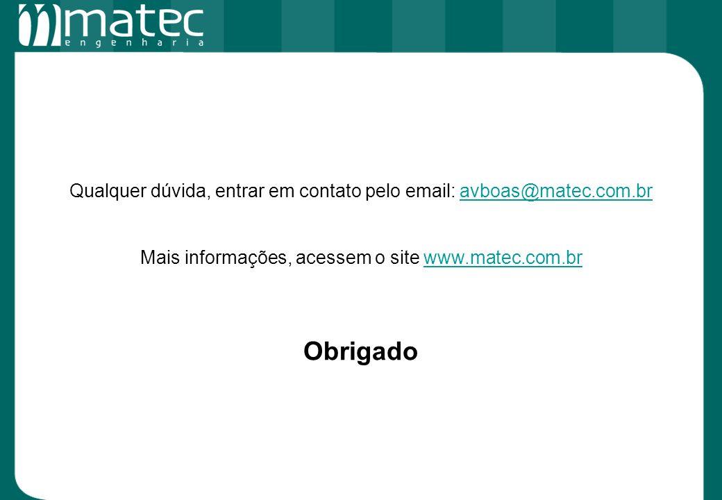 Qualquer dúvida, entrar em contato pelo email: avboas@matec.com.bravboas@matec.com.br Mais informações, acessem o site www.matec.com.brwww.matec.com.b