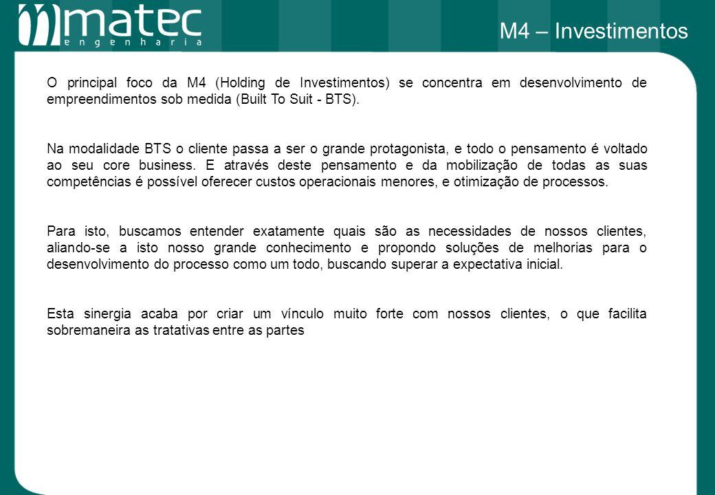 O principal foco da M4 (Holding de Investimentos) se concentra em desenvolvimento de empreendimentos sob medida (Built To Suit - BTS). Na modalidade B