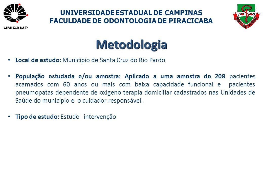 UNIVERSIDADE ESTADUAL DE CAMPINAS FACULDADE DE ODONTOLOGIA DE PIRACICABA Metodologia Local de estudo: Município de Santa Cruz do Rio Pardo População e